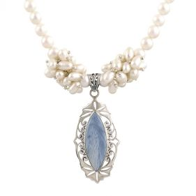Colier unicat din perle naturale, opal Owyhe si argint