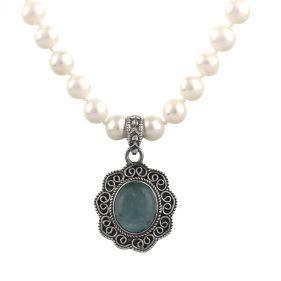 Colier unicat din perle naturale, acvamarin si argint