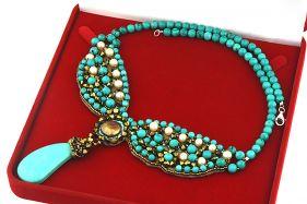 Colier unicat din turcoaz, perle de cultura si cristale Swarovski