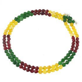 Colier din jad multicolor fatetat