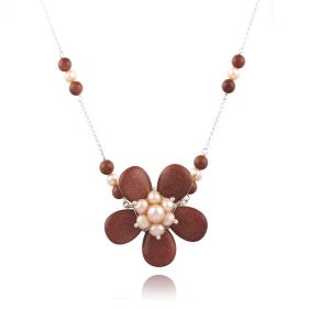 Colier floare din Goldstone, perle naturale si argint