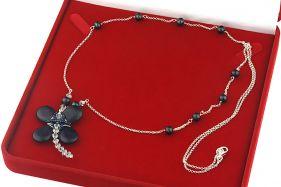 Colier lung din argint, perle naturale, Bluestone si cristale Swarovski