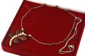 Colier lung din argint, perle naturale si Goldstone