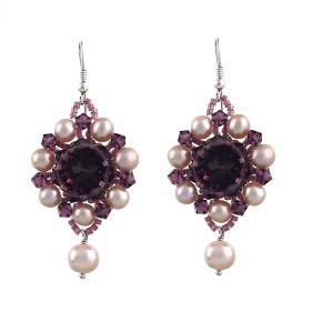 Cercei exclusivisti din perle naturale si cristale Swarovski Amethyst