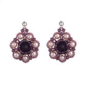 Cercei exclusivisti din perle naturale si cristale Swarovski Cyclamen Opal