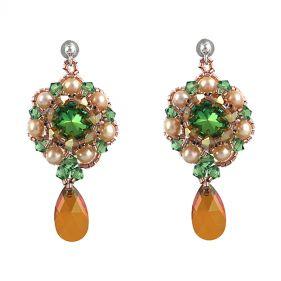 Cercei exclusivisti din perle naturale si cristale Swarovski Scarabeus