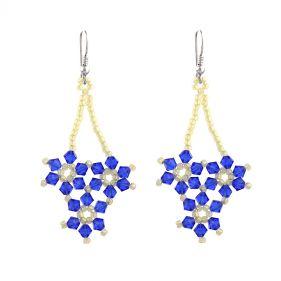 Cercei floare din cristale Swarovski Capri Blue si argint