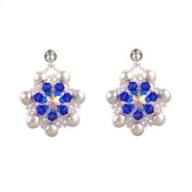 Cercei din perle naturale, cristale Swarovski si argint
