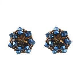 Cercei exclusivisti din cristale Swarovski Metal Blue