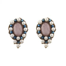 Cercei exclusivisti din perle naturale, cuart roz si cristale Swarovski