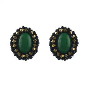Cercei exclusivisti din jad verde, spinel si cristale Swarovski