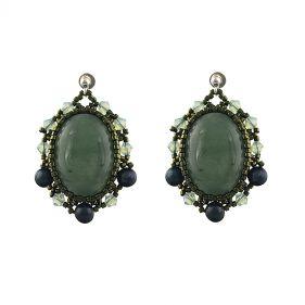 Cercei exclusivisti din perle naturale, aventurin si cristale Swarovski