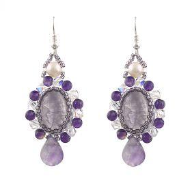Cercei exclusivisti din perle naturale, ametist si cristale Swarovski