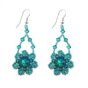 Cercei din argint si cristale Swarovski Blue Zircon