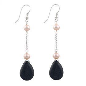 Cercei din argint perle naturale si Bluestone