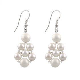 Cercei din perle de Mallorca albe si argint
