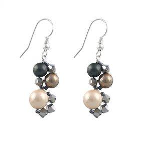 Cercei din perle de Mallorca, cristale Swarovski si argint