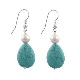 Cercei din perle naturale albe si turcoaz