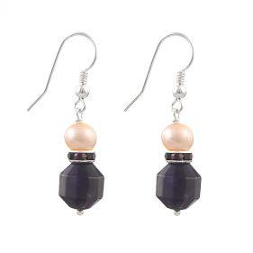 Cercei din perle naturale, ametist si argint