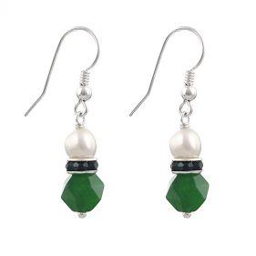 Cercei din perle naturale, jad verde si argint