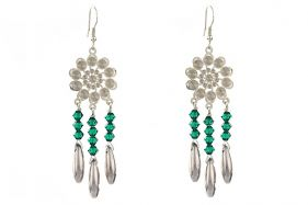 Cercei candelabru din cristale Swarovski Emerald