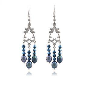 Cercei din perle naturale negre si cristale Swarovski