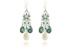 Cercei din sidef, perle de Mallorca si cristale Swarovski