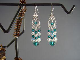 Cercei cristale Swarovski Crystal AB si Emerald