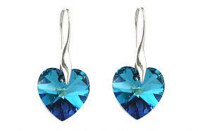 Cercei cristale Swarovski inima Bermuda Blue si argint