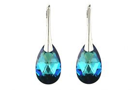 Cercei cristale Swarovski lacrima Bermuda Blue si argint