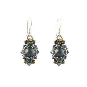 Cercei cristale Swarovski si perle de Mallorca negre