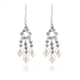 Cercei din argint, perle naturale si cristale Swarovski