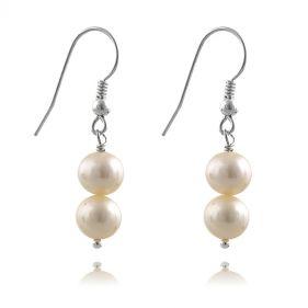 Cercei din argint si perle naturale albe