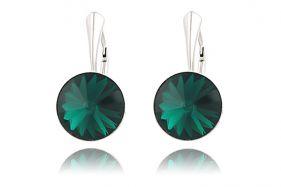 Cercei din argint si Swarovski Emerald