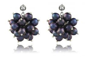 Cercei flori din perle naturale negre