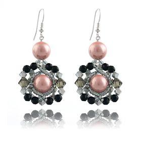 Cercei impunatori din perle de Mallorca si cristale Swarovski