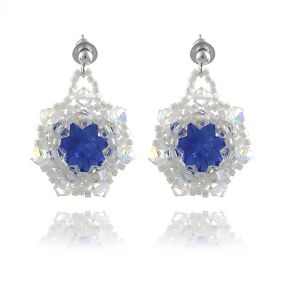 Cercei rivoli din Swarovski Sapphire si Crystal AB