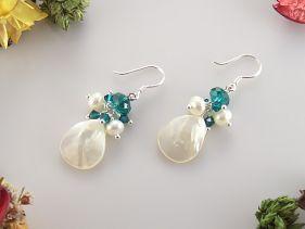 Cercei sidef si cristale Swarovski si perle