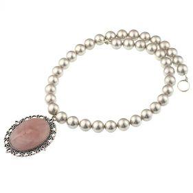 Colier din perle de Mallorca si cuart roz