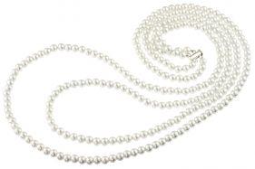 Colier dublu din perle de Mallorca albe si argint