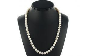 Colier mediu din perle naturale albe 6 - 8 mm A