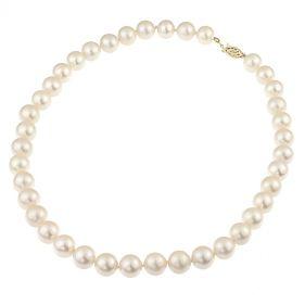 Colier perle naturale albe 10 - 11 mm AAA si inchizatoare aur 14K