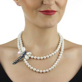 Colier si brosa din perle de Mallorca si Swarovski