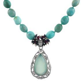 Colier unicat din amazonit, safir, rubin si calcedonie albastra