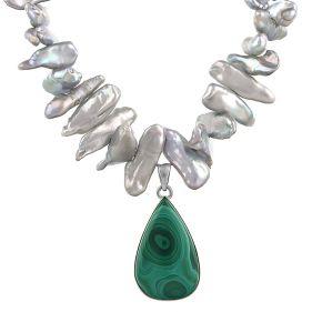 Colier unicat din malachit, perle naturale si argint