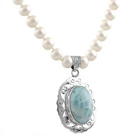 Colier unicat din perle naturale albe, larimar si argint