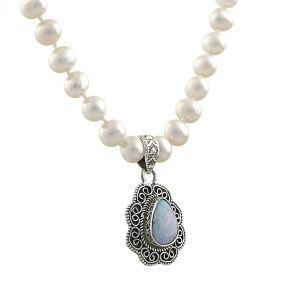 Colier unicat din perle naturale albe, opal australian si argint