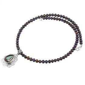 Colier unicat din topaz mistic, perle naturale si argint