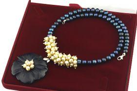 Colier exclusivist floare Bluestone si perle naturale