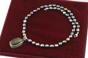 Colier unicat labradorit mov, perle naturale si argint